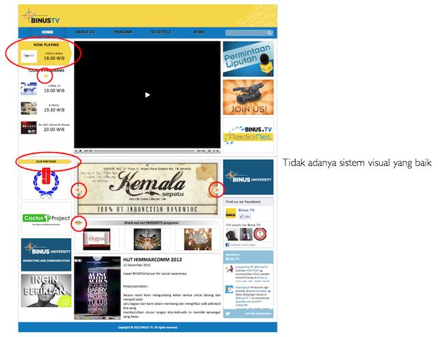 Kajian Visual BINUS.tv - Ketiadaan sistem visual yang baik