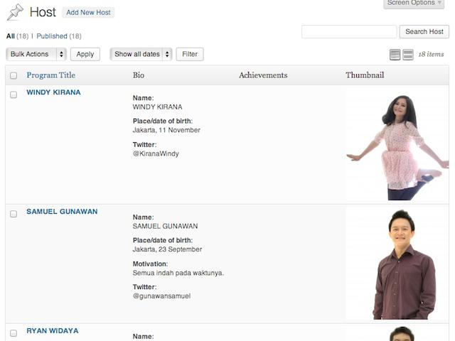 Laman dashboard dengan custom meta information column
