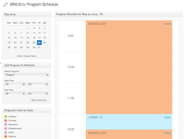 Schedule administration page