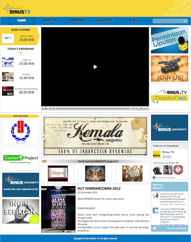 Tampilan UI lama BINUS.tv