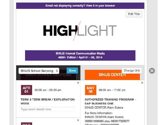 tampilan editor pada Highlight dimana admin dapat langsung mengganti Business Unit