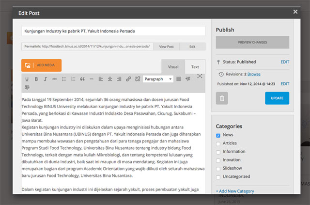 Popup untuk action Edit Post